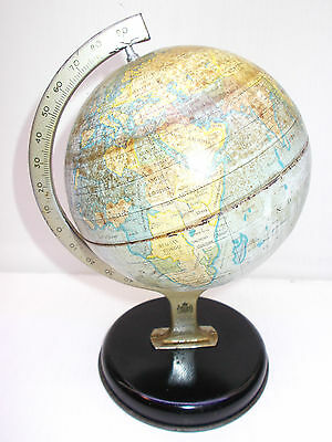 Vintage world globe antique tin The Chad Valley co LTD Made in England No 101474