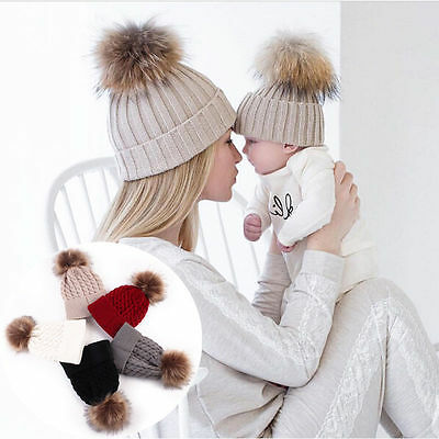 Mother & Child Baby 2PC Winter Warm Knitted Ski Cap Fur Pom Pom Beanie Hat