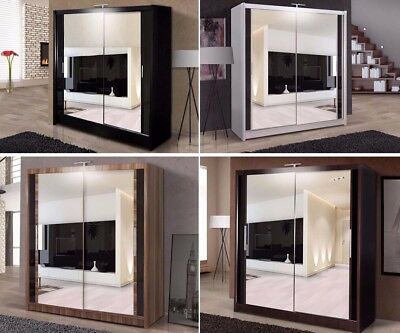 Double Mirror Sliding Door Chicago Wardrobe with LED Light 90/120/150/180/203cm