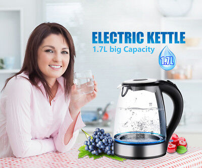 1.7L Black Household Office Glass Kitchen Electric Kettle Illuminated  2200W UK