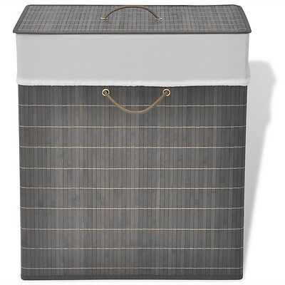 Laundry Hamper Basket Bamboo Washing Clothes Bin Storage Lid Lining Rectangular