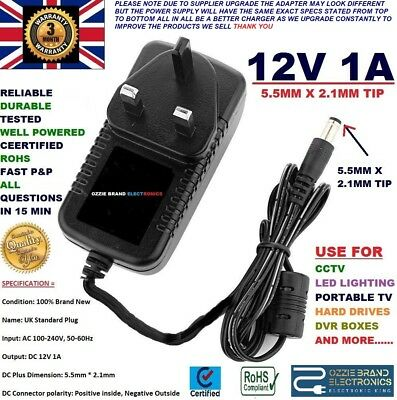 UK AC/DC 12V 1A 1000mA 100-240V AC 50/60Hz POWER SUPPLY ADAPTER CHARGER MAINS UK