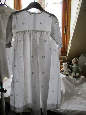 Vintage French Long Baby Gown Broderie Anglaise flowers.