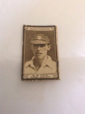 1926 Vintage Wills Cricket Card - Cricketers Series - M W Tate - Sussex I