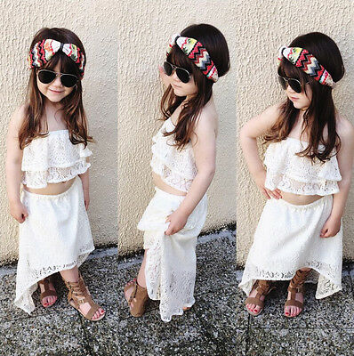 Summer Kids Baby Girl Lace Shirt Tops+Tutu Dress Skirt Outfits Clothes 2PCS 3-4T