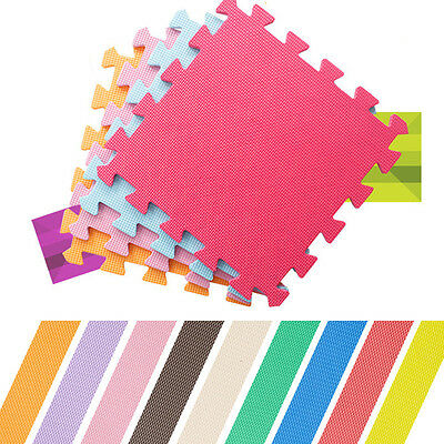 "9 x Baby Interlocking EVA Foam Floor Puzzle Play Mats Crawling Play 11.8""x11.8"""