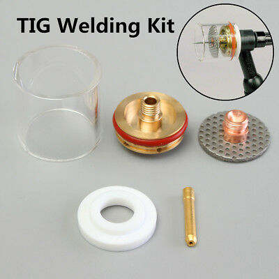 5PCS TIG Welding Torch Gas Lens Pyrex Cup Kit For WP-9 20 1.0/2.0/1.6/2.4/3.2mm