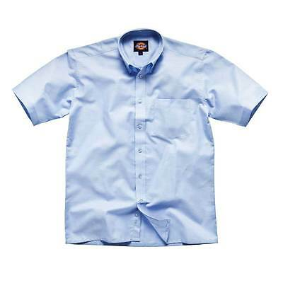 Dickies Mens Workwear Oxford Weave Short Sleeved Shirt Blue SH64250B