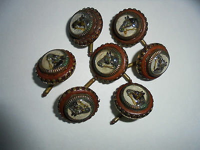 7 Vintage ENGLISH GILT METAL ESSEX CRYSTAL TYPE GLASS Equestrian  Horse BUTTONS