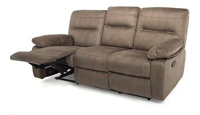 Maxwell Three 3 Seater Manual Recliner Sofa Couch Settee with Faux Suede Finish