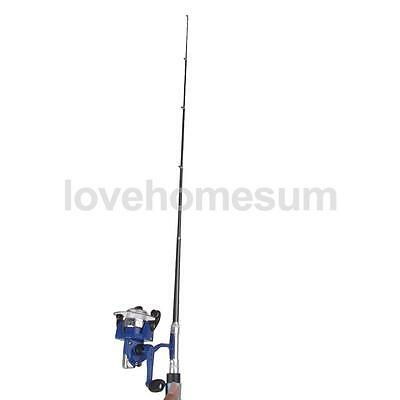 Mini Pocket Telescopic Fishing Rod Pen Alloy Fishing Rod Pole + Reel Blue