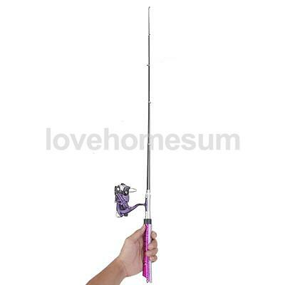 Mini Pocket Telescopic Fishing Rod Pen Fishing Rod Pole with Reel Purple