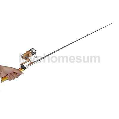 Mini Pocket Telescopic Fishing Rod Pen Alloy Fishing Rod Pole + Reel Gold
