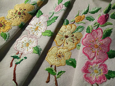 Wonderful Roses ~ Vintage Raised Hand Embroidered Tablecloth