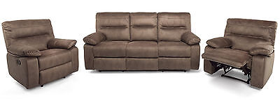 Maxwell 3 and 2 Recliner Armchairs Sofa with Faux Suede Finish