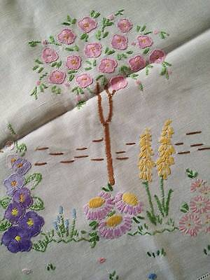 English Gardens/Roses/Hollyhock ~ Vintage Hand Embroidered Tablecloth