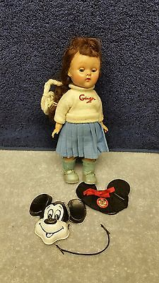 """Vintage 1950's 8"""" Official Mickey Mouse Club Ginger Doll / Outfit Ginny Friend"""