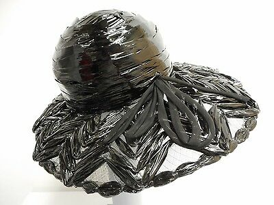 "Vintage hat black mesh and plastic wrap with bow 22"" 56cm English size 6 7/8"