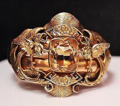 FABULOUS Antique Edwardian FMCO Gold Filled GRIFFIN Glass Hinged Bangle Bracelet