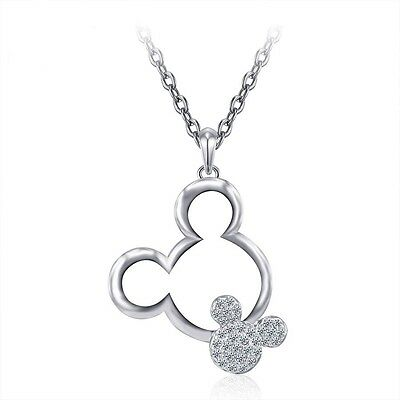 Girl's/Women's Crystal Mickey Mouse Silver Plated Necklace Plus Organza Gift Bag
