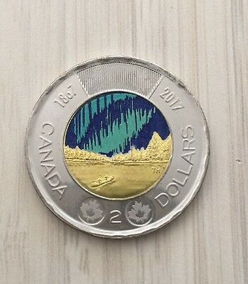 🍁🍁 2017 Canada 150th Commemorative 2 Dollar Coin Glow In The Dark UNC Sold Out