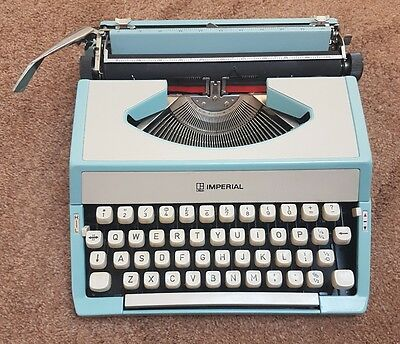 Vintage Retro 1970s Imperial Pale Blue Portable Typewriter with case