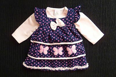 Baby clothes GIRL 6-9m warm. navy/pink spot butterfly dress,pink top long sleeve