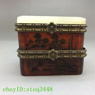 Chinese antique rosewood carving flower pattern - box NRT