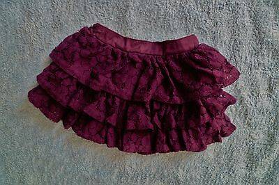 Baby clothes GIRL 3-6m purple cotton lace layer elasticated waist, frill skirt