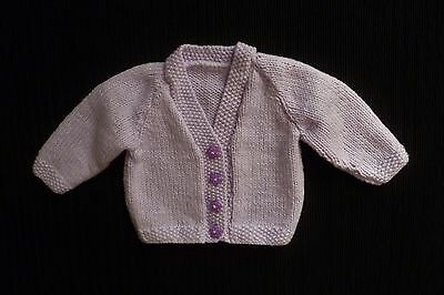 Baby clothes GIRL 0-3m mauve hand-knitted soft cardigan star buttons SEE SHOP!