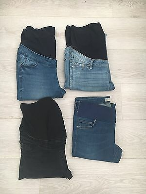 Bundle Of 4 Pairs Maternity Skinny Jeans New Look Topshop H&m Size 10 L30