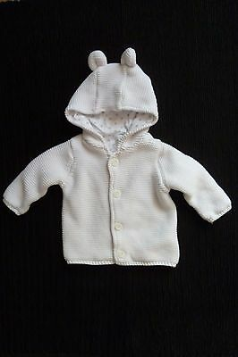 Baby clothes UNISEX BOY GIRL 0-3m white,star cotton-lined, hood cardigan/jacket