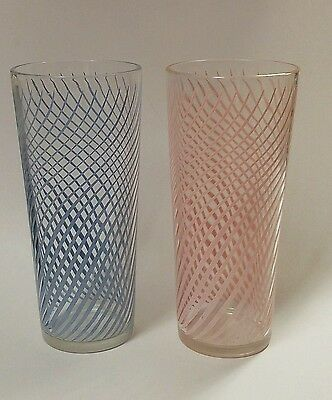 Vtg Libbey Mid Century Retro 1956-58 #56 Pink and Turqouise 16oz Cooler Glasses