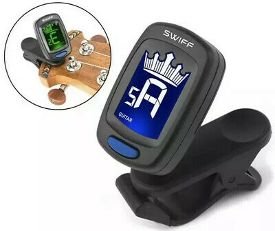 Electric Guitar & Bass Fully Chromatic ( Compact ) Clip On Tuner Bright LCD