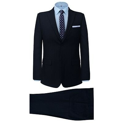 Men's 2 Piece Business Suit Jacket Trousers Formal Casual Striped Navy Size 46