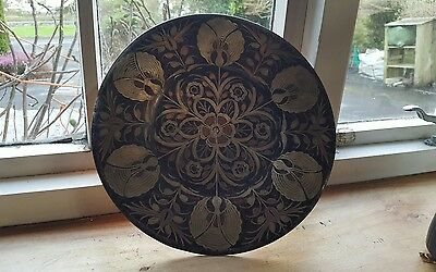 Vintage engraved floral copper wall hanging plate