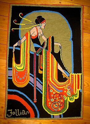 "The Art Deco ""Follies Girl"" Original, One of a Kind Hooked Mat on Burlap"