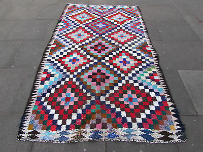 Old Traditional Handmade Persian Oriental Blue Red Cotton Kilim 265x160cm