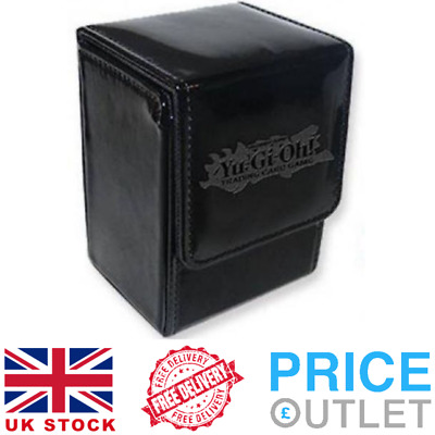 Official YuGiOh Card Deck Box, Black Leather trading card storage case Z68