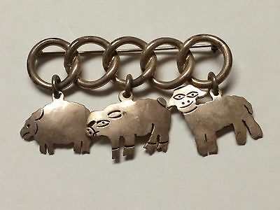 3 DANGLE Farm Animals STERLING Silver 925 PIN BROOCH sheep PIG lamb ABSTRACT