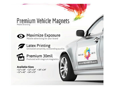 Qty.2 12x24 Custom Car Magnets Magnetic Auto Car Truck Signs OVERNIGHT SHIPPING