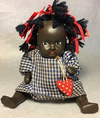 African American Baby Doll Bisque Jointed Vintage Red/ White/ Blue Outfit 12N