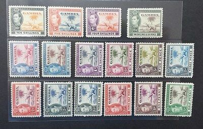 GAMBIA 1938 KG VI 1/2d to 10s  SG 150 - 161 Sc 132 - 143 elephant set 16 MNH