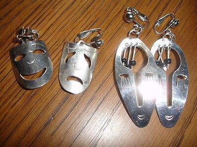 2 pair face mask clip on silver earrings