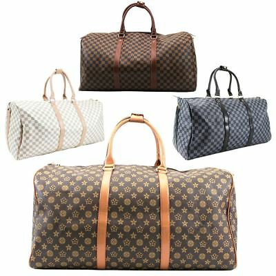 Mens Ladies Unisex New Check Pattern Canvas Designer Duffle Travel Holiday Bag