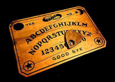 Wooden Ouija Board Set Distressed Vintage Antique Fuld Handmade with Planchette