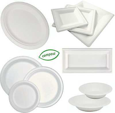 Biodegradable Bagasse White, Round, Square, Oval, Oblong Plates, Bowls, Platters