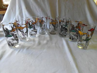 "Set of 8 Vintage Libbey Flying Geese Drinking Glasses/Tumblers 5 1/4"" Tall 10 oz"