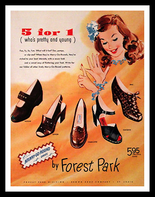 1945 Forest Park Shoes Ad - Shoe - Merry Go Round - Heels - Brown Shoe Co