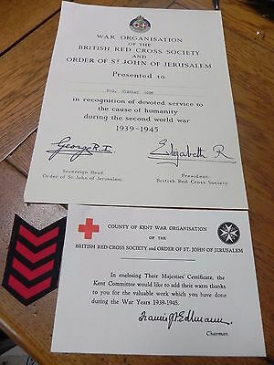 Ww2 British Red Cross Society Their Majesties Certificate Service To Humanity
